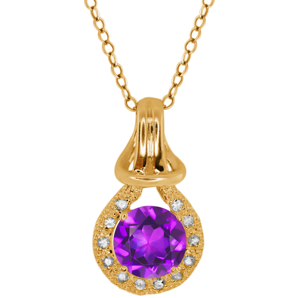 1.42 Ct Purple Amethyst White Sapphire Yellow Gold Plated Silver Pendant