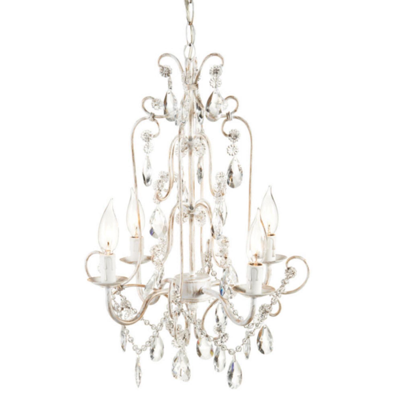"""18"""" Elegant Gem Accented Lighted Hanging White Chandelier"""