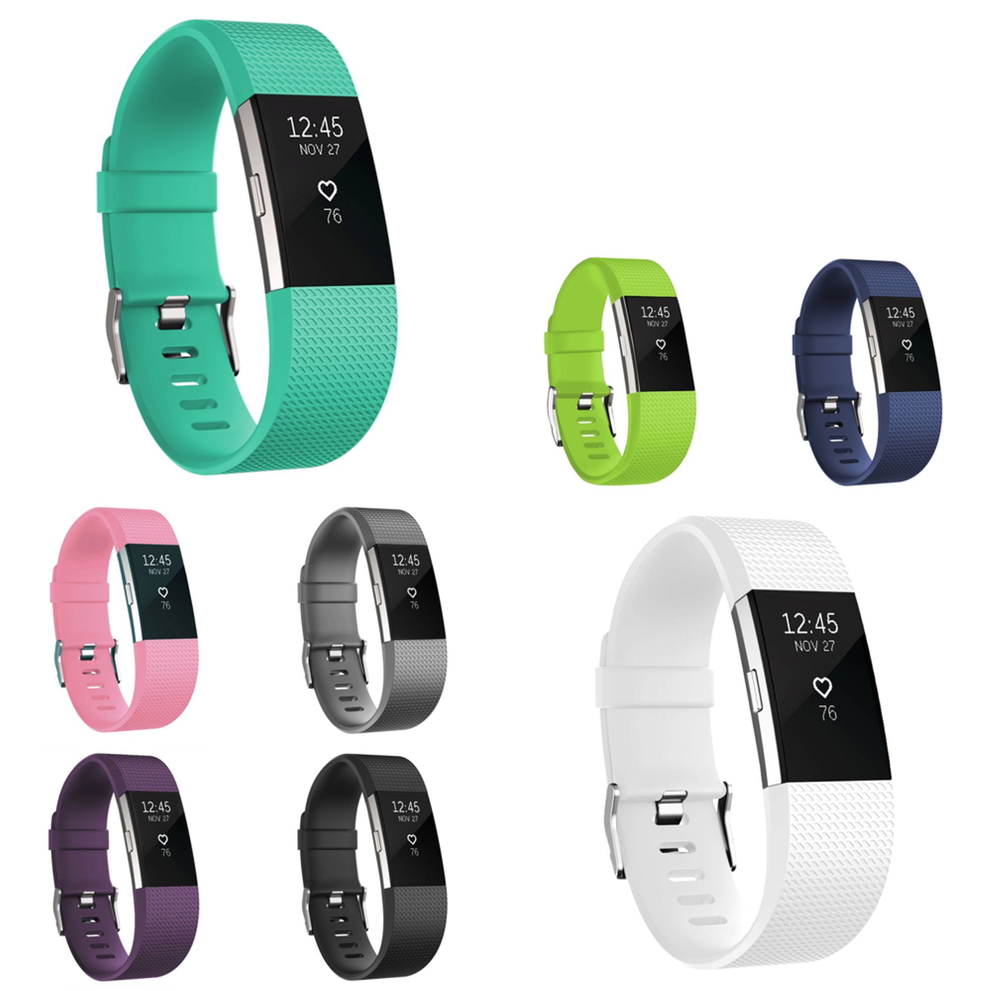 Zodaca 8-pack (Multicolor) Replacement Accessory Soft Silicone Rubber Adjustable Wristband Strap Band with Watchband-style Buckle for Fitbit Charge 2