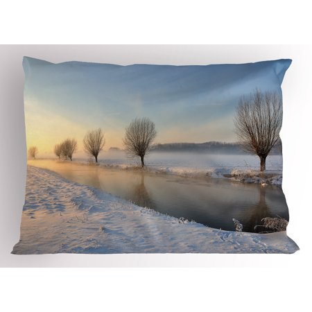- Winter Pillow Sham Snowy River Landscape Barren and Frosted Trees Dutch Netherlands Europe Photograph, Decorative Standard Size Printed Pillowcase, 26 X 20 Inches, Multicolor, by Ambesonne