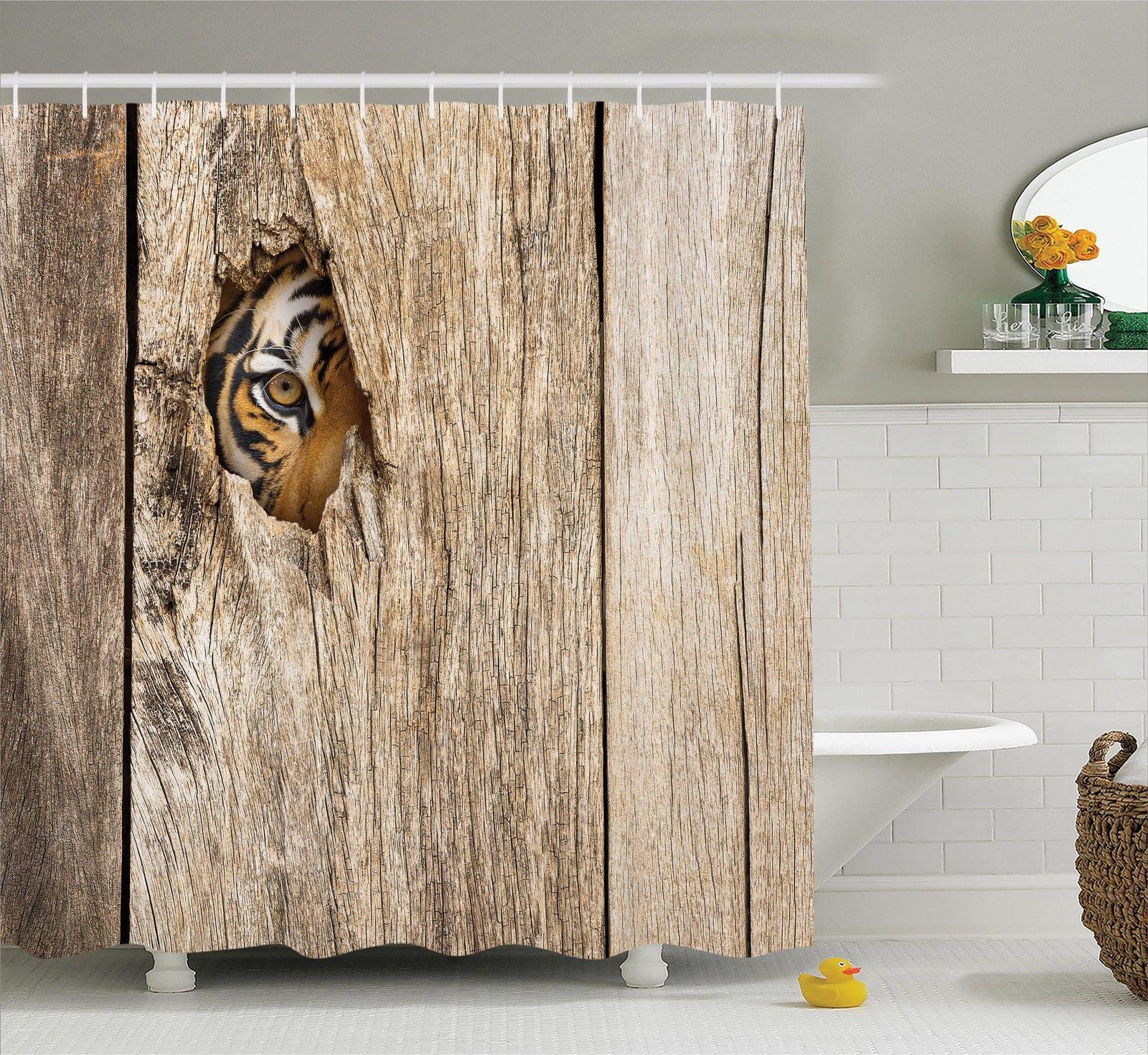Safari Decor Shower Curtain Set Siberian Tiger Eye