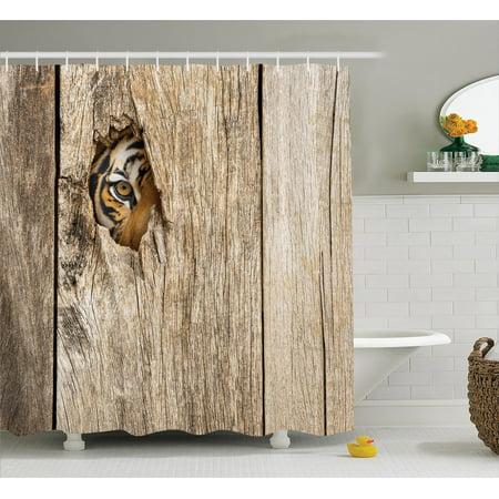Peep Through The Bathroom Door. Safari Decor Shower Curtain Set Siberian Tiger Eye Looking Through Wooden Peep Hole In Spy