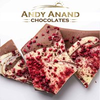 Andy Anand Belgian Chocolate Bark Bridge 5 Pack, Delicious 3 oz each of Gingerbread, Peppermint, Raspberry, Coconut, Lemon Gift Box & Greeting Card Birthday Valentine Christmas Holiday Gifts