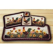 Earth Rugs 87-391MR Wicker Weave Table Runner Rug, Morning Rooster