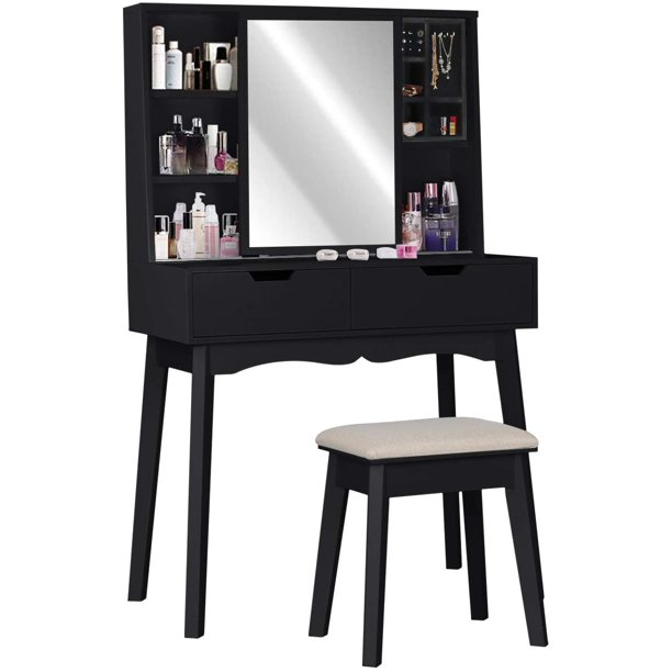 Modern Vanity Table Set With Mirror And, Black Vanity Set With Lighted Mirror And Stool