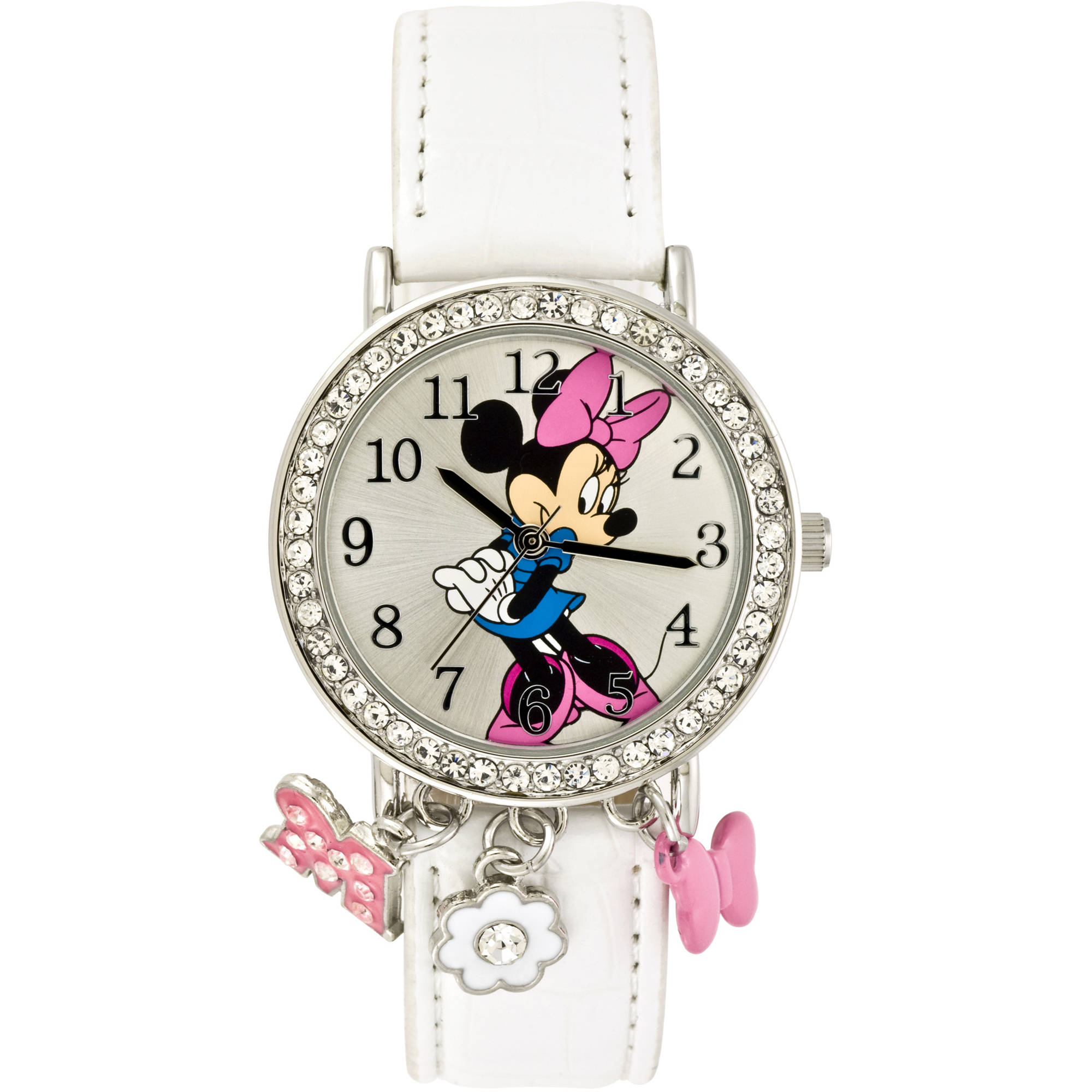 Minnie Mouse Stone Case with Dangling Charms Character-Printed Dial Analog Watch, White Croco PU Strap