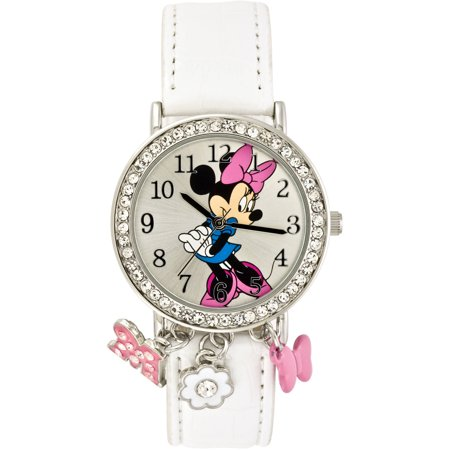 Minnie Mouse Stone Case With Dangling Charms Character Printed Dial Analog Watch  White Croco Pu Strap