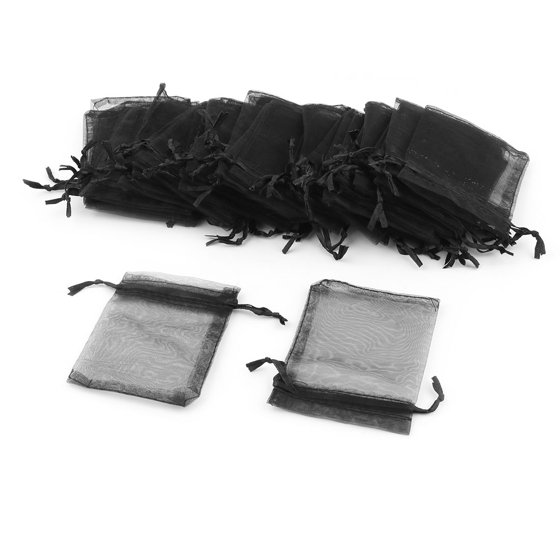 Organza Drawstring Candy Jewelry Packing Pouch Wedding Gift Bag Black 50 Pcs