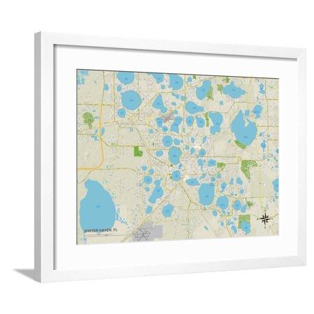 Political Map of Winter Haven, FL Framed Print Wall Art