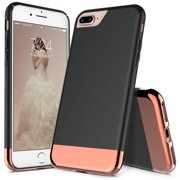 iPhone 7 Plus Case, iPhone 8 Plus Case, RANZ Black with Rose Gold Protective Slider Style Scratch Proof Hard Cover For Apple iPhone 7 Plus / iPhone 8 Plus