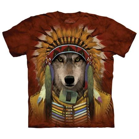 The Mountain Mens  Wolf Spirit Chief T Shirt