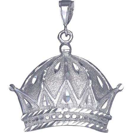 Diamond Crown Charm - Large Heavy Sterling Silver Crown Charm Pendant Necklace 10 Grams 2.1 Inches with Diamond Cut Finish and 24 Inch Figaro Chain