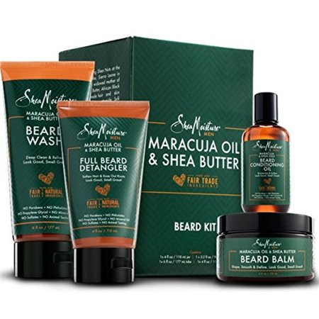 SheaMoisture Complete Beard Styling Set - Maracuja & Shea Oils - Conditioning Oil, Balm, Detangler & Wash Gift Box