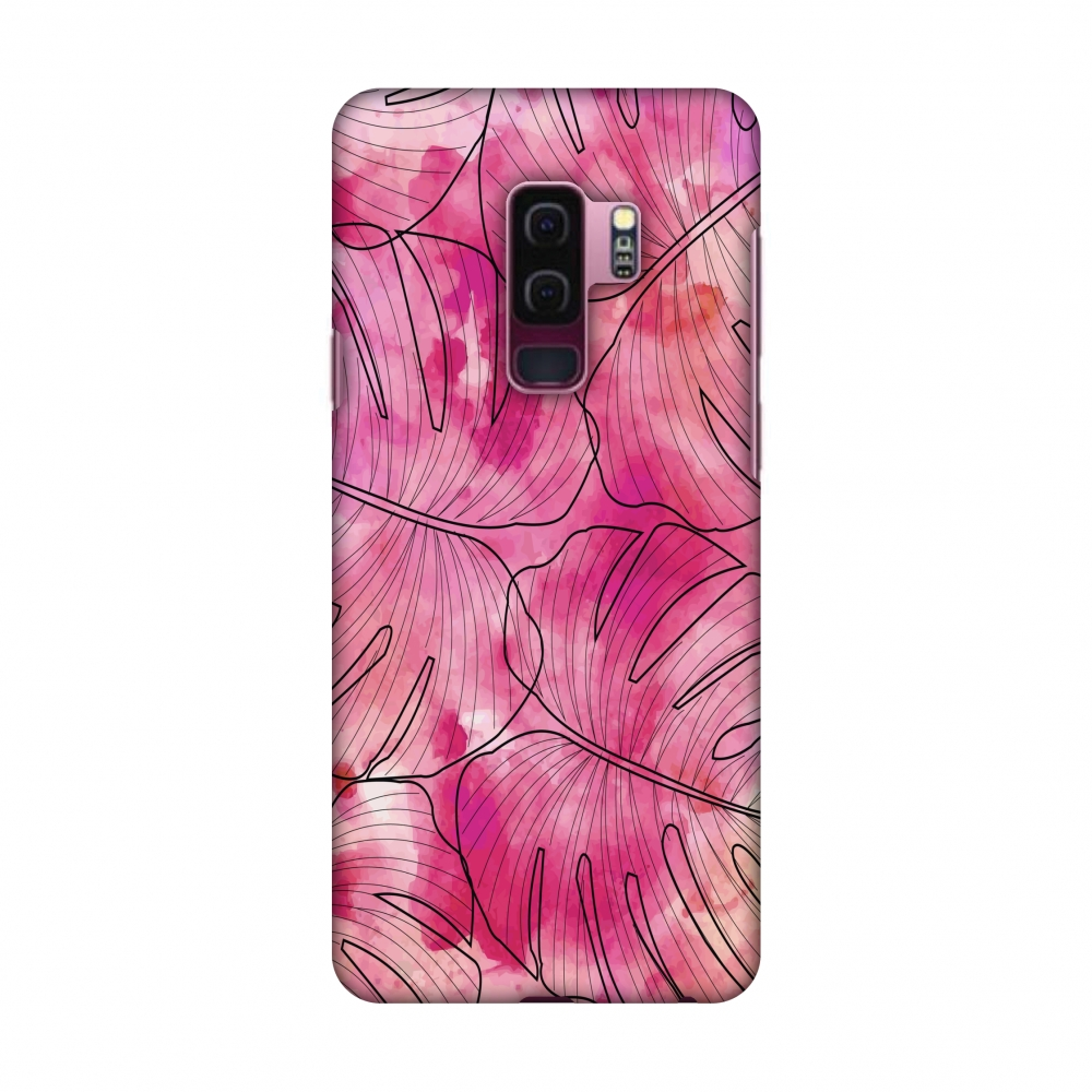 Samsung Galaxy S9 Plus Case - Tropic Paint - Pink, Hard Plastic Back Cover, Slim Profile Cute Printed Designer Snap on Case with Screen Cleaning Kit