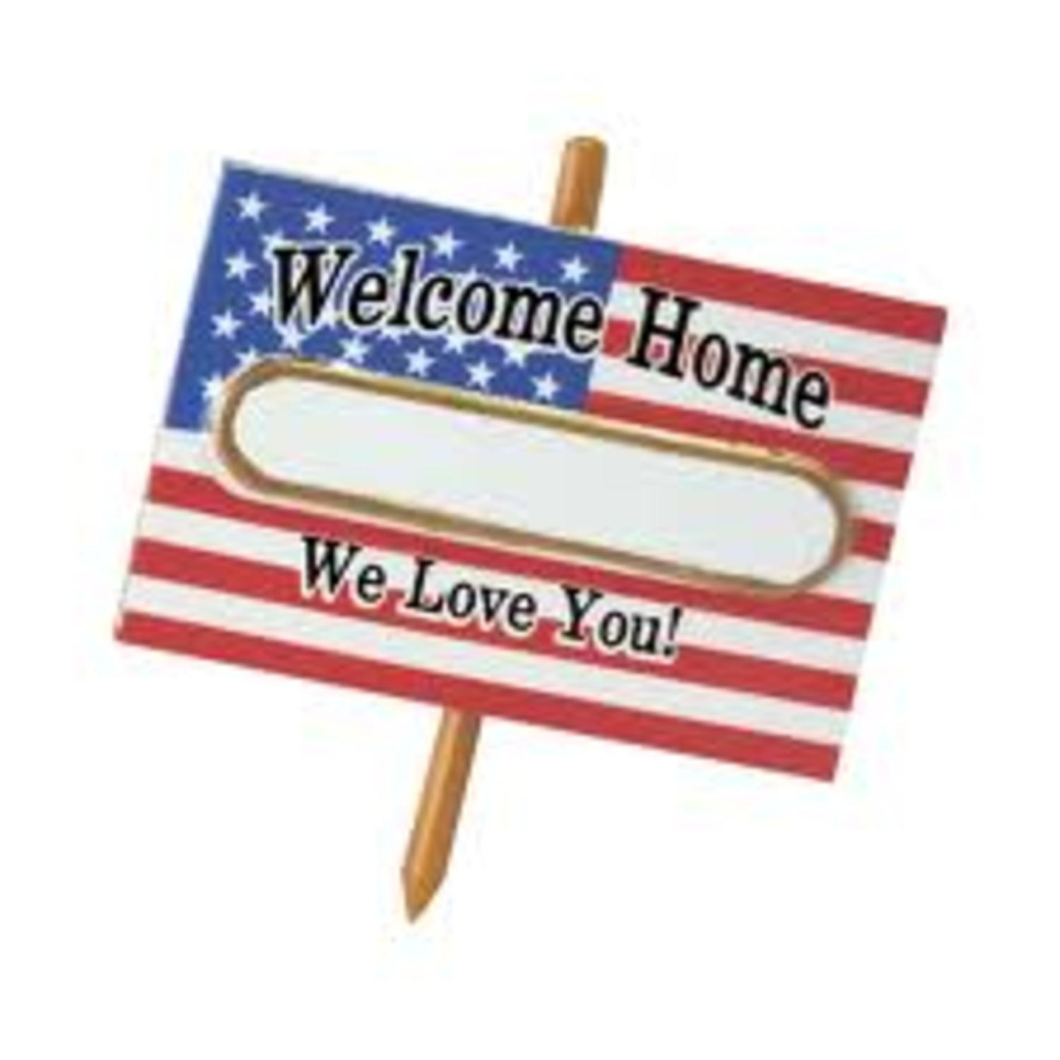 """MIDWEST 3"""" American Flag Welcome Home Soldier Christmas Ornament - Red/White"""