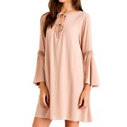 Almond Solid Dress with Front Cutout Ties & Lace Trim Long Sleeves, Large