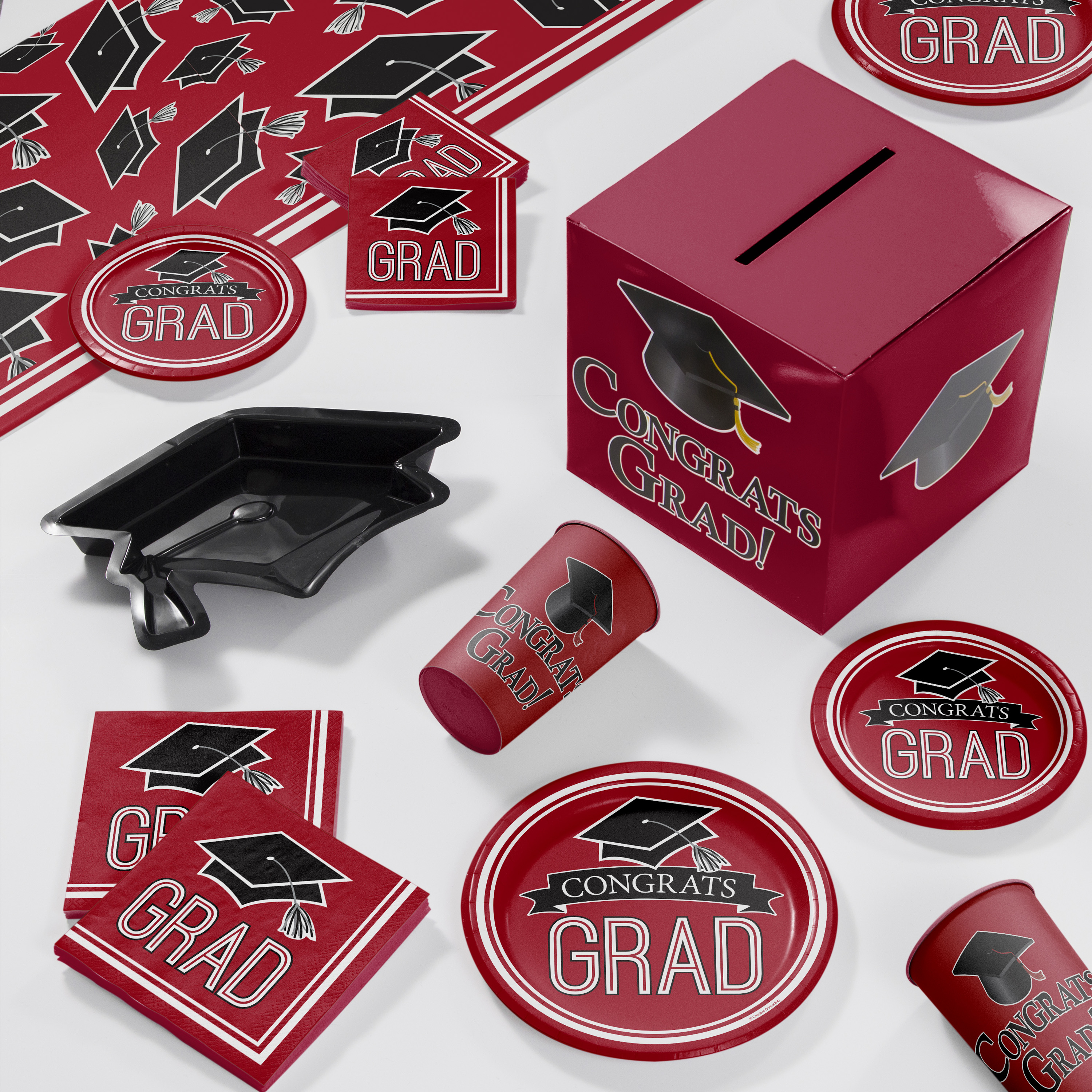 Graduation School Spirit Red Deluxe Party Supplies Kit