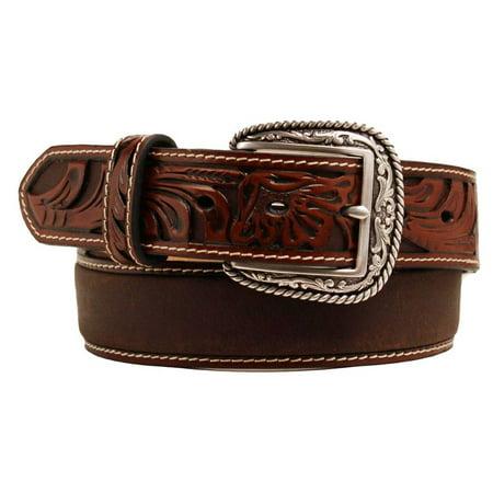 Ariat Western Belt Mens Tooled Floral Leather Tan A1017008 (Tan Skinny Belt Men)