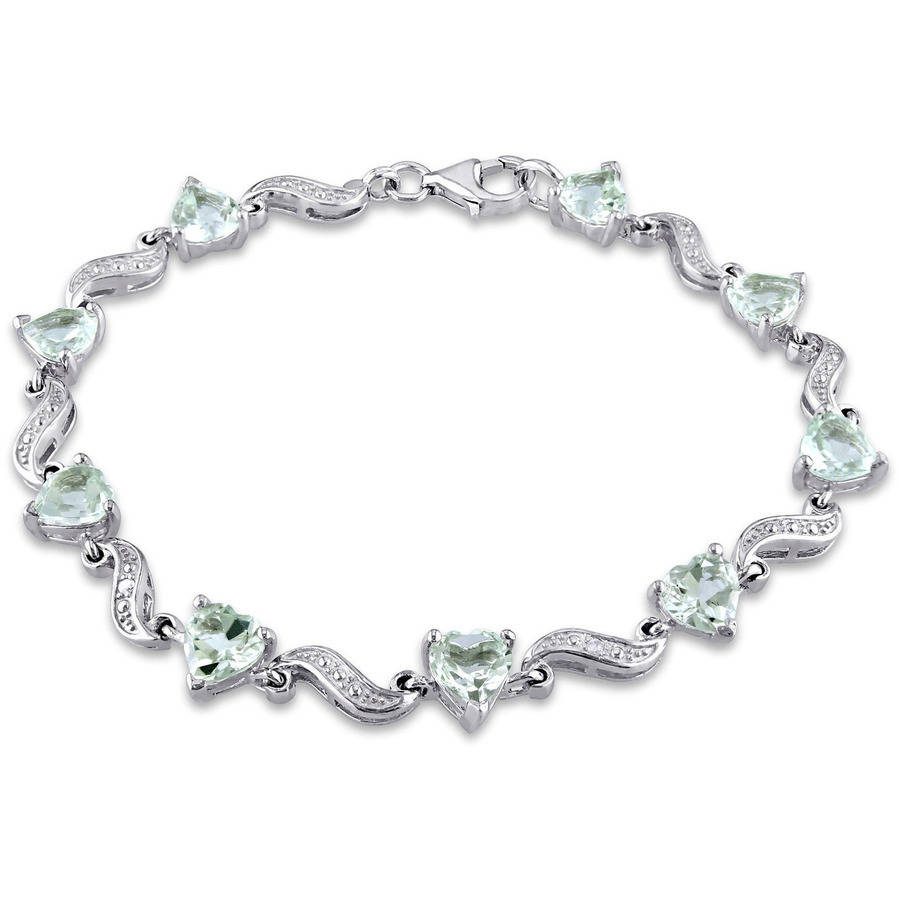 "Tangelo 6-4 5 Carat T.G.W. Green Amethyst and Diamond-Accent Sterling Silver Heart S-Link Bracelet, 7"" by Tangelo"