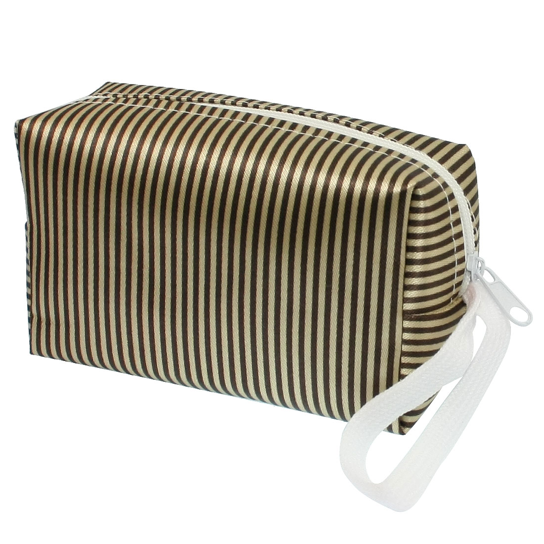 Beige Brown Stripes Pattern Zip Up Design Single Compartment Purse Wallet Pouch