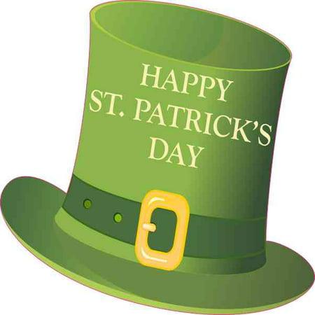 4inx4in Happy St Patrick's Day Hat Sticker Vinyl Holiday Leprechaun Decal](Leprachaun Hat)