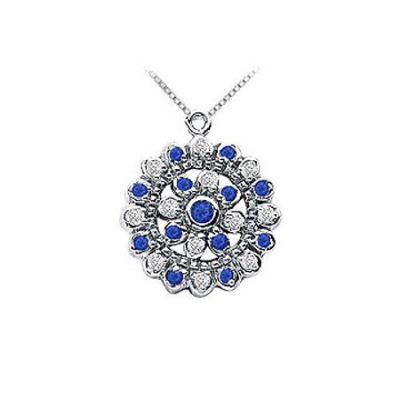 Sapphire and Diamond Flower Pendant 14K White Gold 0.50 CT TGW - image 1 of 2