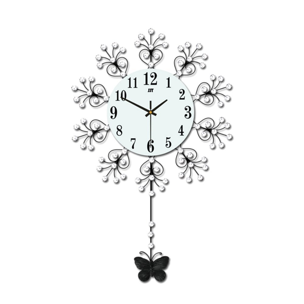 "Magshion 3D Decorative Crystal Flower Iron Butterfly Swing Mute Wall Clock W/ Wall Hooks Large 18.3""L 11.7""W Swaying Tail"