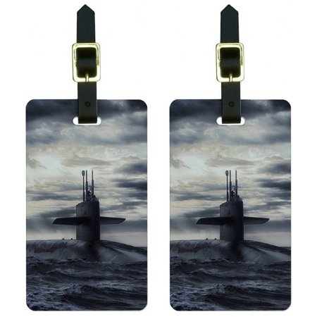Seal Luggage Tag (Nuclear Submarine at Sea Luggage Tags Suitcase Carry-On ID, Set of 2 )