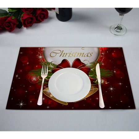 GCKG Merry Christmas Placemat,Merry Christmas Table Placemat 12x18 Inch Set of 2