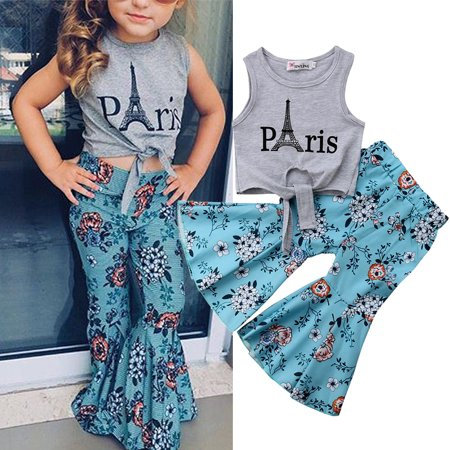Toddler Baby Girl Top Gray T-shirt+Wide Leg Flare Bell Bottom Floral Pant Outfit Fashion Summer Set