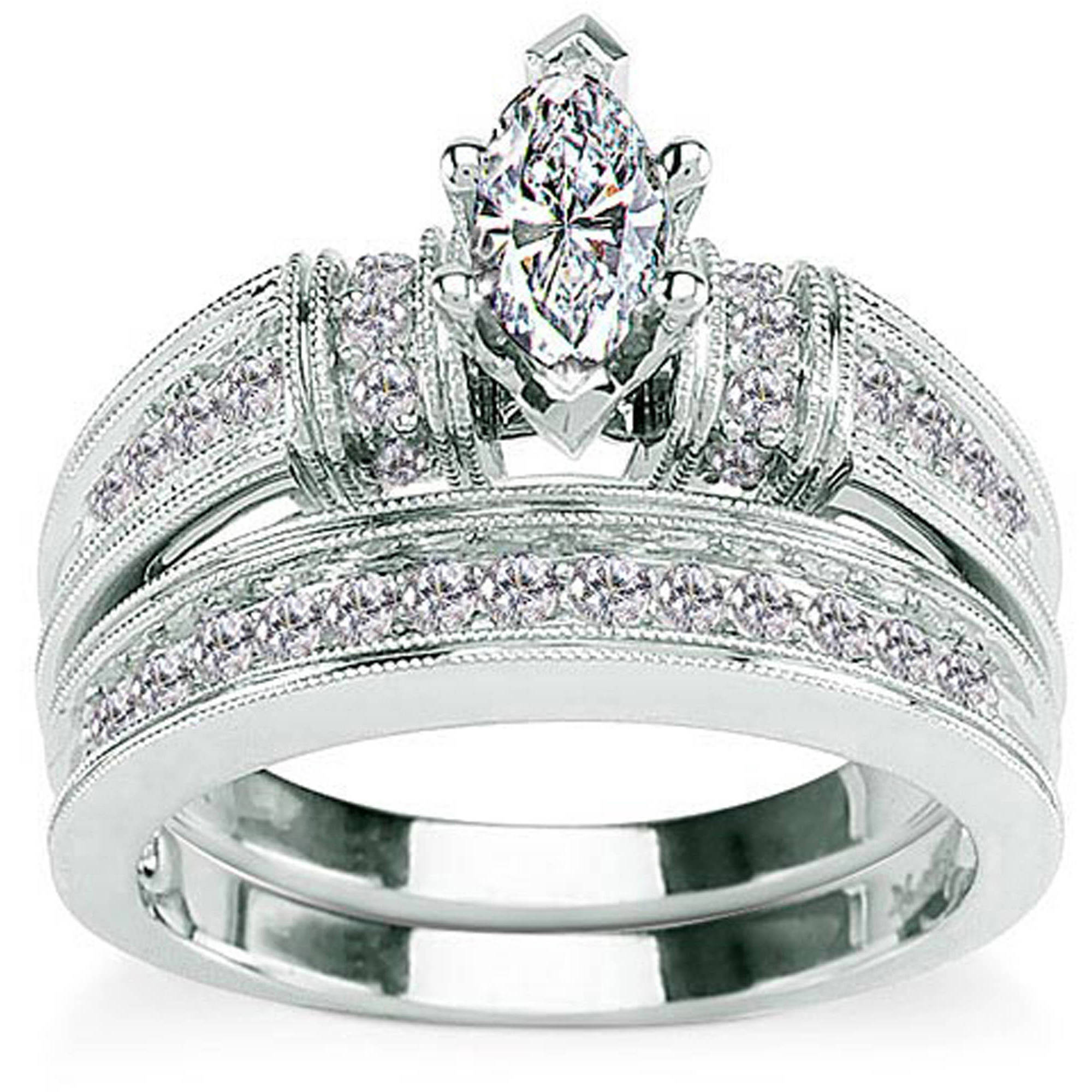 5 8 Carat Diamond Marquise Cut 14kt White Gold Bridal Set