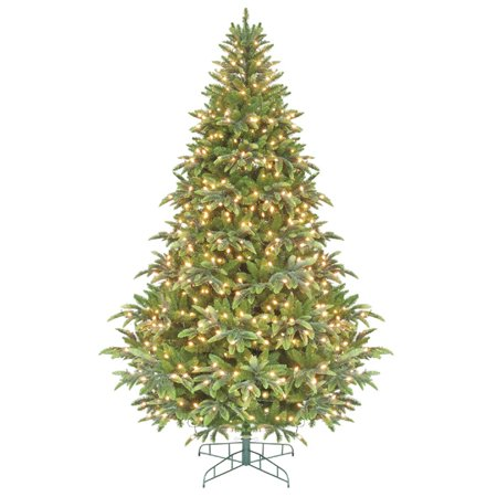 7.5' Green Pre-Lit Instant Power Cascade IPT Christmas Tree - Clear Lights ()