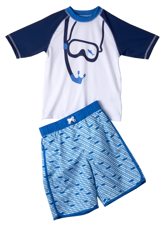 I.Xtreme Baby Toddler Boy Goggles Rashguard & Swim Trunks, 2pc Set