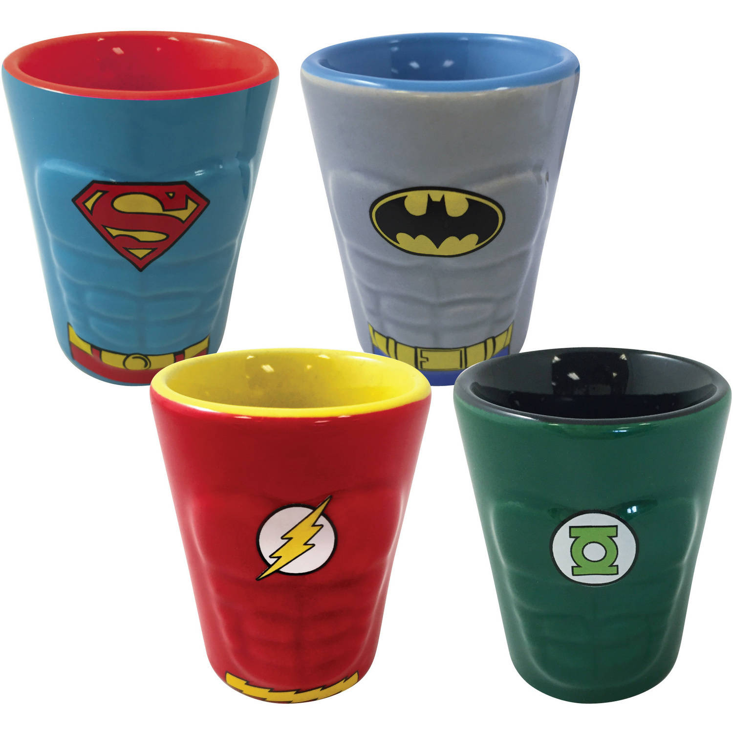 ICUP DC Comics Heroes of DC Molded Ceramic Shot Glass, 4-Pack
