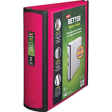 staples better 2 inch d 3 ring view binder pink 13570 cc