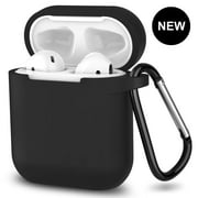 AirPods Case,360°Protective Silicone AirPods Accessories Kit with Apple AirPods 1st/2nd Charging Case[Not for Wireless Charging Case] Black