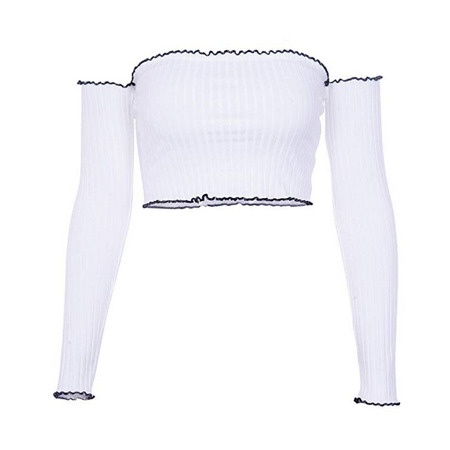 Womens Wooden Ear Long Sleeve Sexy One Word Collar Perspective Tube Top Vest Knits Tees ()
