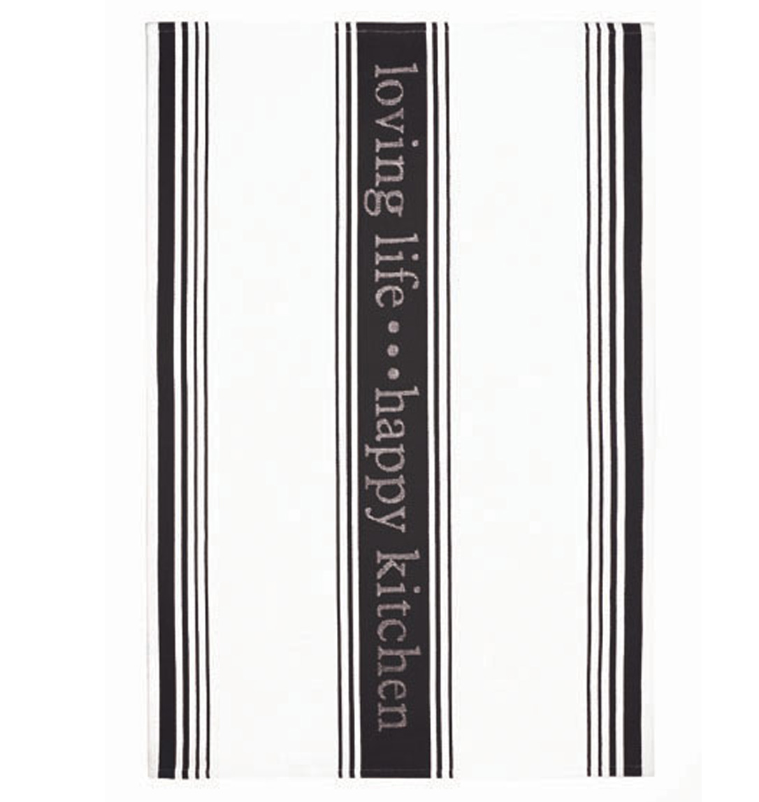 MUkitchen Loving Life 100% Cotton Striped Jacquard Towel 20 by 30-Inches Onyx