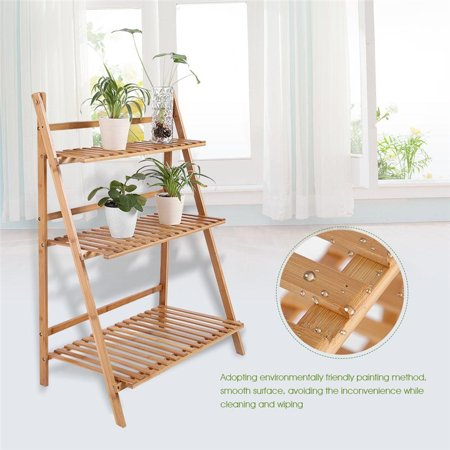 3 Layers Wood Plant Pot Rack, Foldable Flower Plant Potted Rack Shelf, Flower Pot Display Stand Shelf + Gloves + Screwdriver + 3 pcs Mini Plant Tools