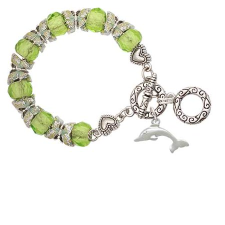 Silvertone Antiqued Dolphin Lime Green Butterfly Bead Charm - Antique Charm Bracelets