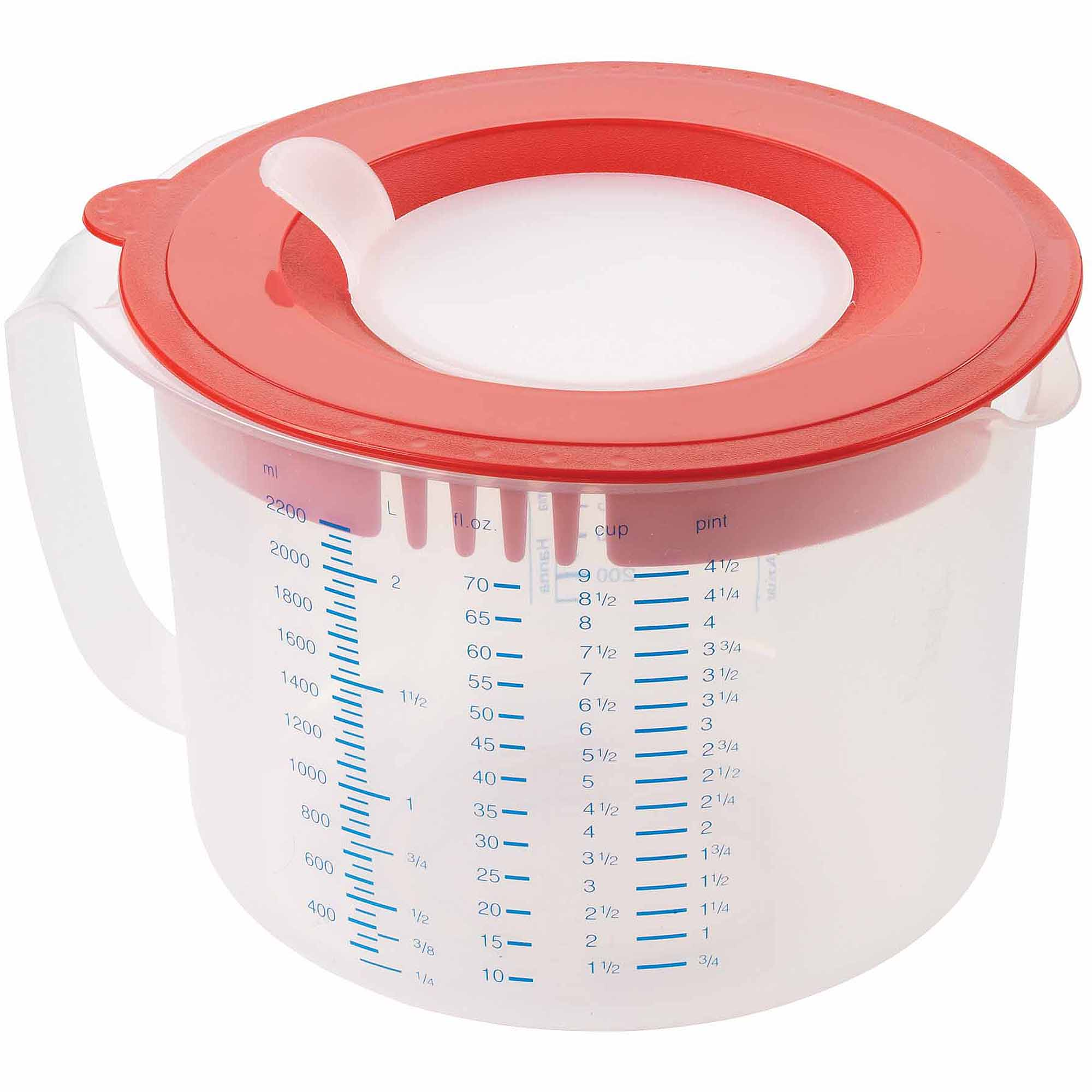 Leifheit 9-Cup 3-in-1 Measuring Cup, Transparent White and Red