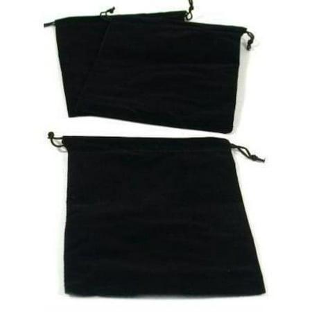 3 Pouches Black Velvet Drawstring Jewelry Bags 5