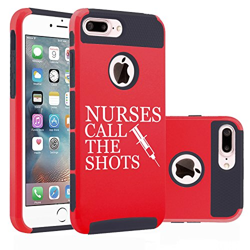 For Apple iPhone (7 Plus) Shockproof Impact Hard Soft Case Cover Nurses Call The Shots (Red)