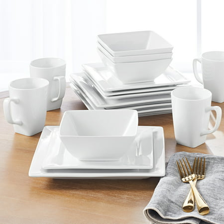 Better Homes & Gardens 16 Piece Square Dinnerware Set, White (White 16 Piece Set)