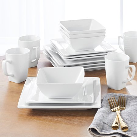 Better Homes & Gardens 16 Piece Square Dinnerware Set, White (Dinner Set 72 Pieces)