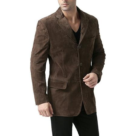 BGSD Men's Robert 3-Button Suede Leather Blazer (Short)