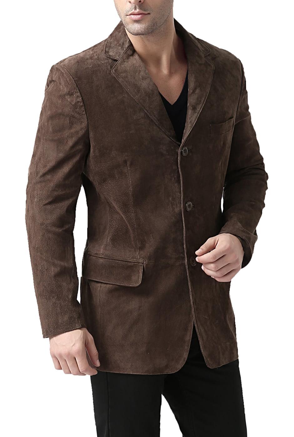 """Men's """"Robert"""" Three-Button Suede Leather Blazer - Big & Tall"""