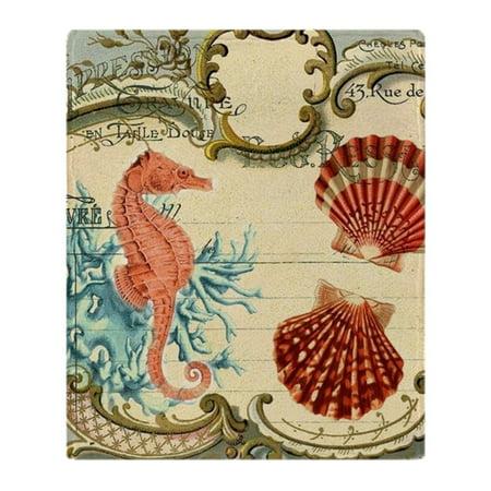 Nantucket Nautical Throw - CafePress - Chic Seahorse Seashells Nautical Bea - Soft Fleece Throw Blanket, 50