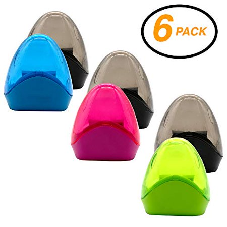 Emraw Dual Hole Manual Pencil Sharpener with Triangle Receptacle to Catch Shavings for Regular & Oversize Pencils/Crayons in Brightly Colored Plastic - Great for School, Home & Office (6 Pack) - Cute Pencil Sharpener