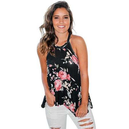 Womens Summer Sleeveless Halter Tops Floral Print Irregular Hem Tunic Tops Casual Loose Blouse (Floral Print Halter Top)